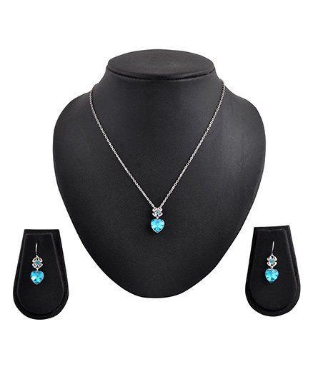 Angel GlitterFlower Heart Crystal Necklace Set - Blue