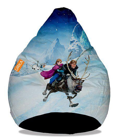 Orka Disney Frozen Digital Printed Bean Bag Cover White Blue
