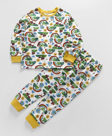 Ollypop Full Sleeves Night Suit Allover Rainbow Print - White & Yellow