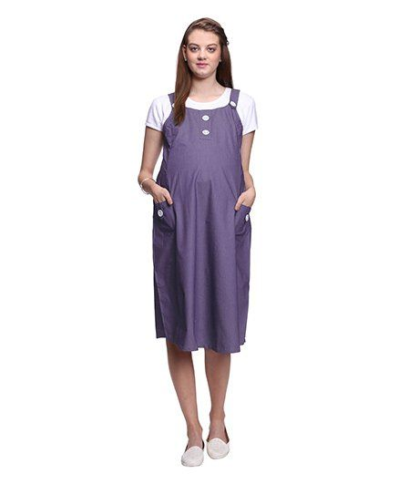 Mamma's Maternity Short Sleeves Dress With Side Pockets - Blue
