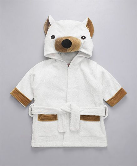 Babyhug Full Sleeves 3D Hooded Bathrobe - Off White