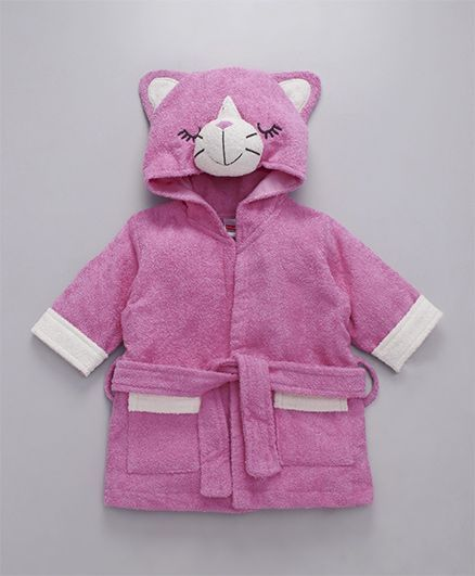 Babyhug Full Sleeves 3D Hooded Bathrobe - Pink