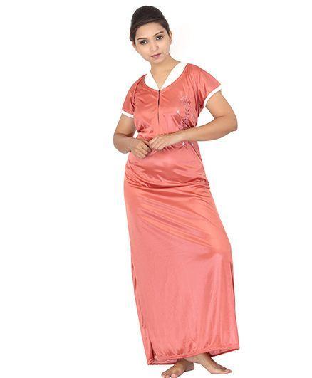 eba9147c17 Fabme Womens Zip Open Satin Nighty Orange Online in India