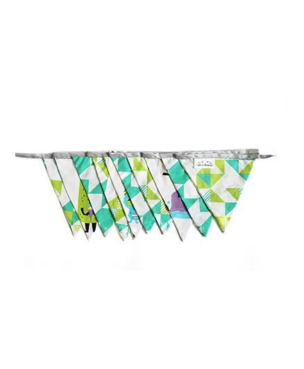 Silverlinen Cotton Bunting Silly Monster Print - Green