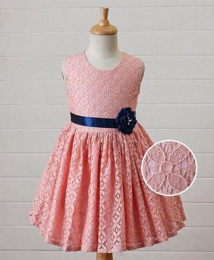 Babyhug Cap Sleeves Frock Floral Design - Peach