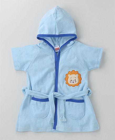 Babyhug Short Sleeves Terry Hooded Bathrobe Lion Face Patch - Light Blue 88dae8f4a