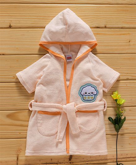 Babyhug Short Sleeves Hooded Bath Robe Owl Embroidery - Peach