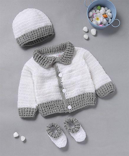 The Original Knit Snow White Design Sweater With Cap & Socks - White & Gray