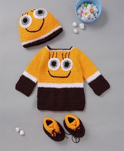 The Original Knit Colorful Eyes & Smiley Design Sweater With Cap & Socks - Multicolour