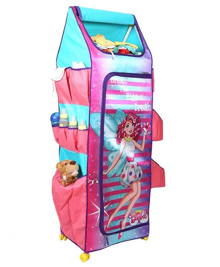 Barbie 4 Shelves Folding Wardrobe - Pink & Blue