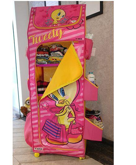 Looney Tunes Tweet Folding Wardrobe With Wheels - Pink