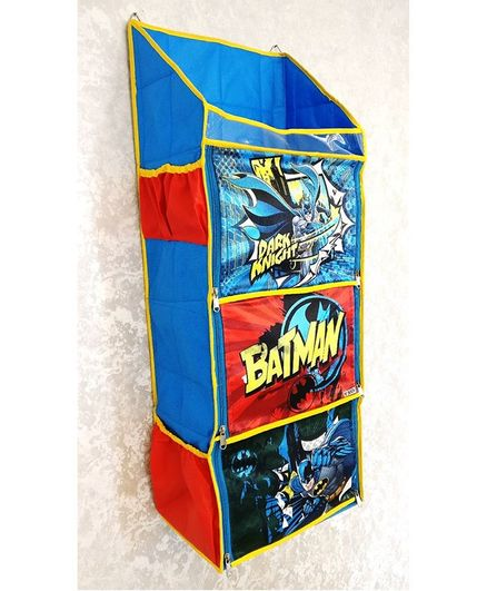 DC Comics 3 Shelf Foldable Hanging Rack Batman Print - Blue