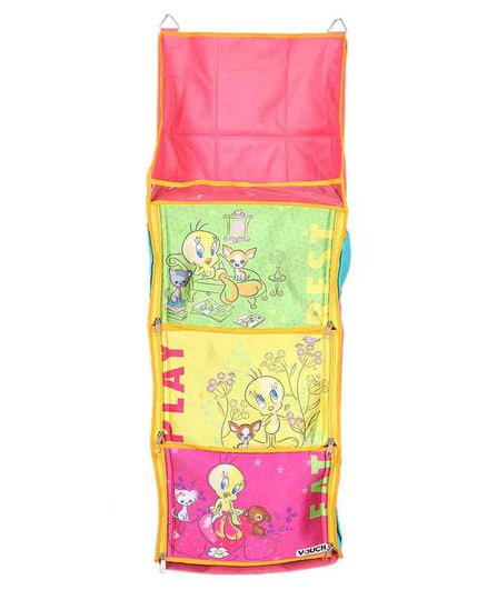 Tweety 3 Shelf Foldable Hanging Rack - Pink Yellow & Light Green