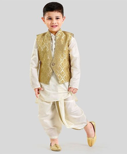 a1a37f0f2 Babyoye Ethnic Wear Full Sleeves Kurta Jacket   Dhoti - Cream Beige