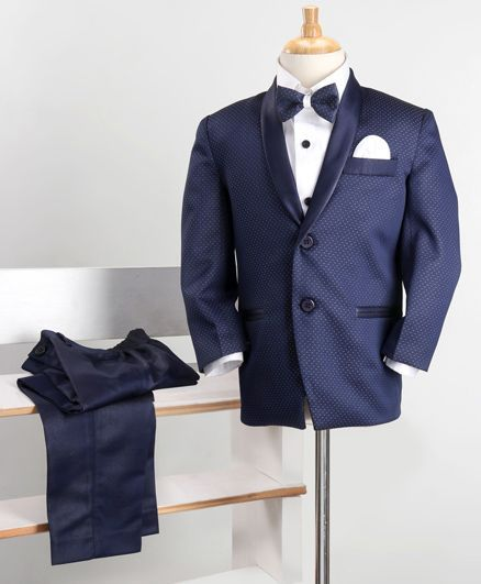 Babyoye 3 Piece Party Suit With Bow - Blue White