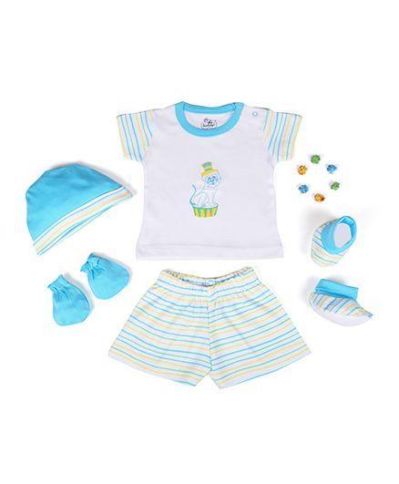 Beebop Boy's Apparel Gift Set Stripes Print Pack of 5 - Blue & White