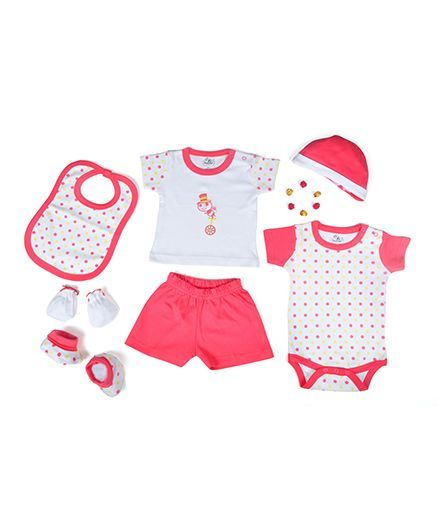 Beebop Apparel Gift Set Polka Dots Print Pack of 7 - Pink & White
