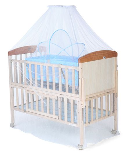 Mee Mee Wooden Baby Cot With Cradle u0026 Mosquito Net - Blue u0026 Cream  sc 1 st  FirstCry & Mee Mee Wooden Baby Cot With Cradle u0026 Mosquito Net Blue u0026 Cream ...