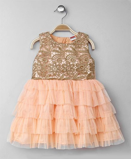 Babyhug Party Wear Sleeveless Net Layer Frock - Peach