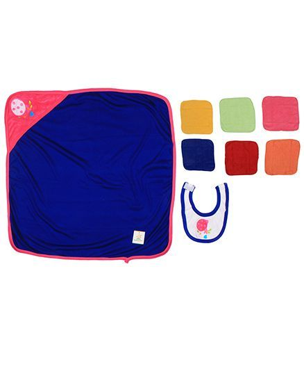 Ole Baby Gift Set Hooded Towel With Wash Clothes & Bib Flower Patch - Multi Color