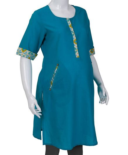 Kriti Half Sleeves Maternity Nursing Kurti - Blue