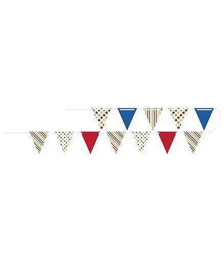 Celebration Essentials Paper Flag Banner Dots Stripes Print - Multi Color