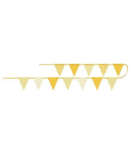 Celebration Essentials Paper Flag Banner Dots Stripes Print - Yellow