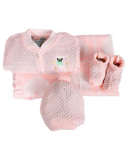 Babies Bloom Crochet Blanket Cardigan Booties And Cap Set - Pink