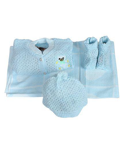 Babies Bloom Crochet Blanket Cardigan Booties And Cap Set - Blue