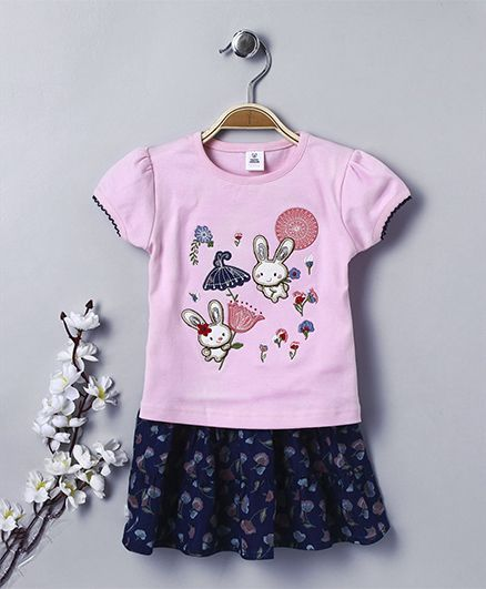 ToffyHouse Short Sleeves Top And Skirt Set - Floral & Bunny Embroidery - Light Pink & Blue