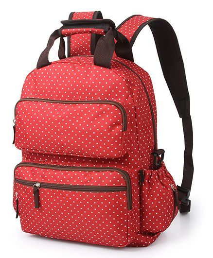 T Bags Backpack Style Diaper Bag Dotted Print Red
