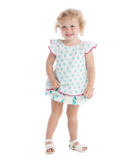 9c0027cf5 Buy Masala Baby Flutter Sleeves Top And Ruffle Bloomer Jardin Butti ...