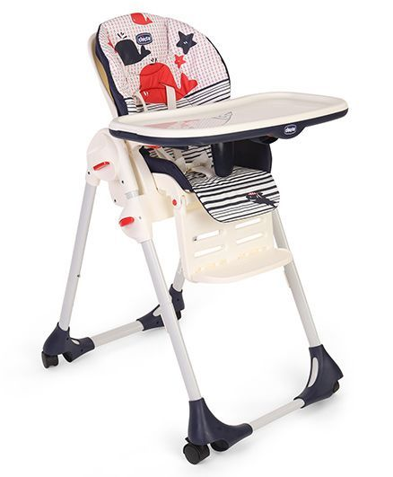 Chicco Polly Easy High Chair Marine Print   Blue U0026 Red