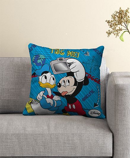 Disney Mickey Mouse Filled Cushion With Cover - Blue