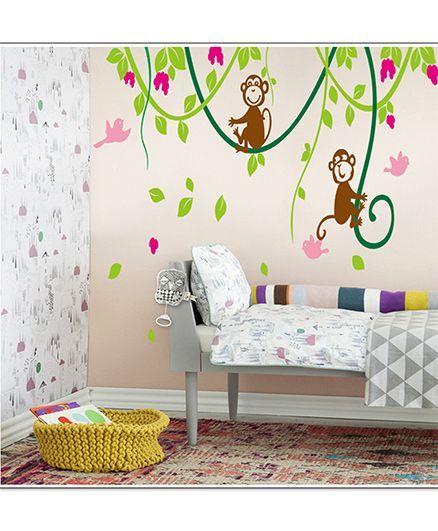 Oren Empower Monkey Pvc Vinyl Large Wall Sticker - Brown Green