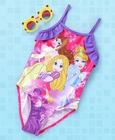 Disney V Cut Singlet Swimsuit Princess Print - Purple Multi Colour