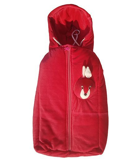 My Newborn Igloo Shaped Sleeping Bag With Bunny Applique - Red