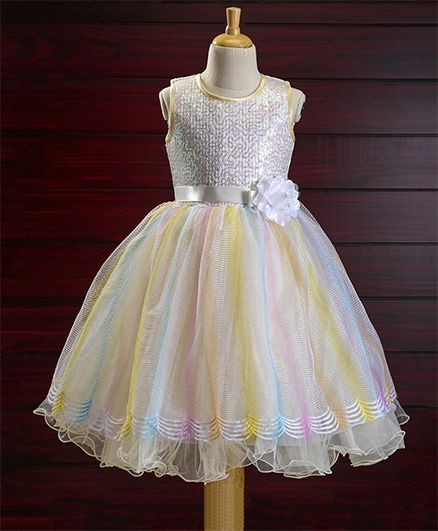 Bluebell Party Wear Sleeveless Frock Flower Applique - White Multicolour