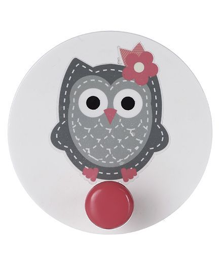 Fly Frog Wooden Wall Hook Owl Design - White Grey