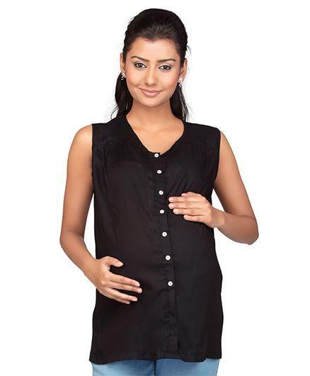 Kriti Sleeveless Maternity Nursing Top - Black