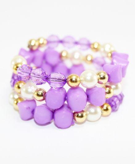 Milyra Pearls Bracelet - Purple & White