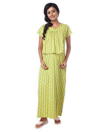 a00c91cd1d4 Kriti half sleeves printed knit maternity nursing nighty yellow online jpg  438x531 Rubber nighty