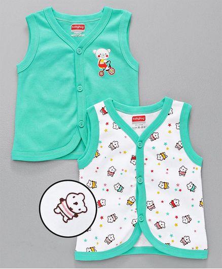Babyhug Sleeveless Vests Set of 2 - Sea Green White