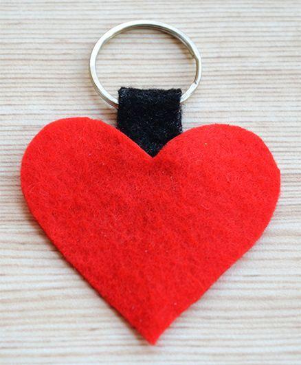 Pretty Ponytails Valentine Love Heart Key Ring - Red