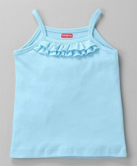 Babyhug Solid Colour Singlet Slip With Frill - Sky Blue