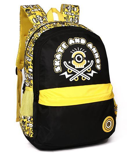 Minions Skate And Annoy School Bag Black Yellow - 19 inches