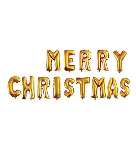 Party Propz Merry Christmas Letter Balloon Golden - 14 Pieces