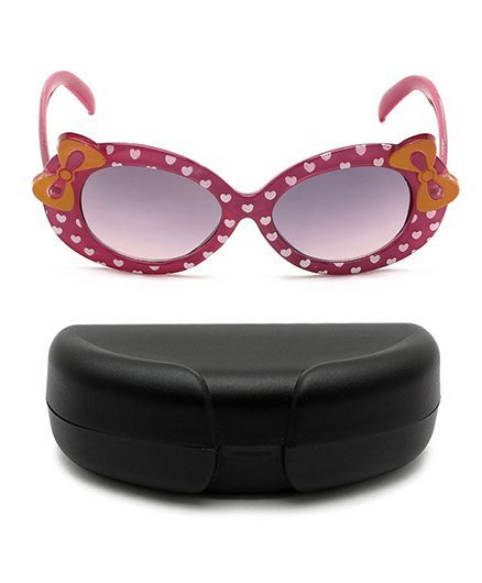 Miss Diva Double Bow Hearts Sunglasses With Case - Purple