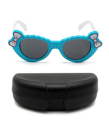 Miss Diva Double Bow Polka Sunglasses With Case - Blue & White