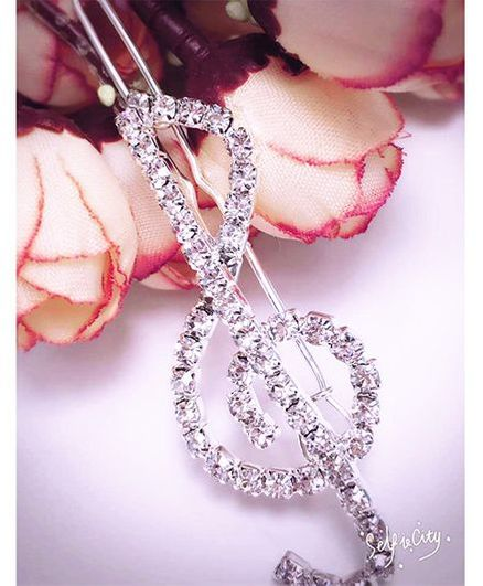 Flaunt Chic Crystal Stone Musical Note Hair Clip - Silver